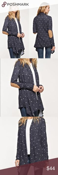 Scabiosa A draping, polka-dot cardigan with long sleeves and a faux suede elbow patch • made in the USA.  Colors available: Navy Sizes: Small, Medium, Large  Fabric:  Condition: New with Tags  Please ask all questions before purchase.  Bundle Discount: 10% on 2+ items.  Typically ships within 24 hours.   Follow along on Instagram, Snapchat, Twitter & Facebook: @flowersandgray  xo, Jess  Internal Use: SCB- 144800 Flowers and Gray Sweaters