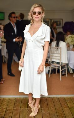 Sienna Miller was in keeping with the tennis whites theme on the men's final day