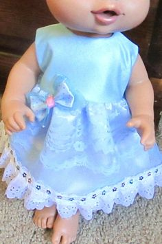 """Doll Clothes 13"""" Baby Alive Bitty Baby Blue Lace Sparkle Trim Boutique Dress 