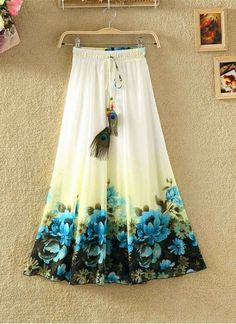 Long Bohemian Chiffon Skirt Ladies Print Summer Woman Clothes Beach Boho Casual Maxi Skirts Size One Size Color Style One Long Skirts For Women, Womens Maxi Skirts, Long Maxi Skirts, Party Rock, Party Wear, Tutu, Mode Rock, Crepe Skirts, Gown Pattern