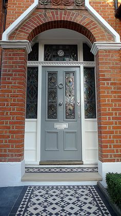 Front Door Brick House Victorian Black And White Mosaic Tile Path Battersea York Stone Rope Edge Buxus London Front Garden Front Door Stepshouse Front Door Paint Colors Red Brick House Navy Front Door Front Door Steps, Front Door Entrance, House Front Door, House Doors, Up House, House Entrance, Front Path, Front Door Porch, Front Entry