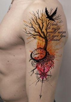 2017 trend Watercolor tattoo - Leafless Tree, Crow, Compass, Clock, Arrow, Abstract, Watercolor Look