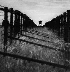 Double Fence and Guard Tower, Lublin-Majdanek, Poland by Michael Kenna