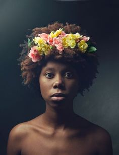 As my Afro grows, I grow into myself, much like the growth of a plant. As the leaves grow up, the roots ground farther down. As my Afro begins to flower, it connects higher in consciousness as I be… Brown Skin, Dark Skin, Afro Hairstyles, Wedding Hairstyles, Princess Hairstyles, Flower Hairstyles, Hairdos, Curly Hair Styles, Natural Hair Styles
