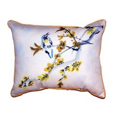 Pair of Betsy Drake Bird & Forsythia Large Pillows 16 Inch X 20 Inch, Multi