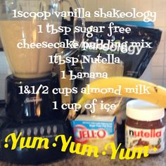 Shakeology recipe: Banana, Nutella cheesecake. Get your Shakeology at www.beachbodycoach.com/kaleyballard