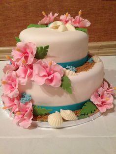 Tropical Floral Wedding Cake