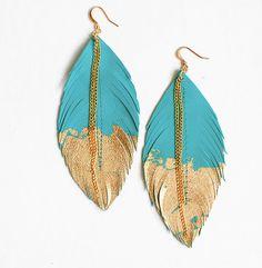 Collar de plumas turquesa cuero pluma pluma de por LoveAtFirstBlush