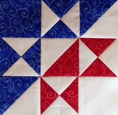 Split Ohio Star Block Finished size: 9″ What you'll need: Red Fabric – 2 squares 4.5″ for hourglass units – 1 square 4″ for center half-square triangle unit Blue…