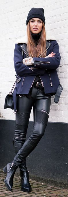 Navy And Black Rocky Outfit by Negin Mirsalehi