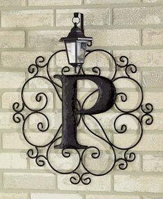 Metal monogram solar light wall art hanging decor scrollwork frame ...