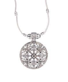 Look what I found on #zulily! Silvertone Heidi Retro Pendant Necklace #zulilyfinds