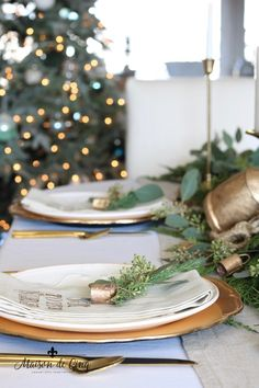 Gorgeous holiday table setting with greens, eucalyptus and gold accents! Classic Christmas table in gold and white---> Pink Christmas Decorations, Christmas Table Settings, Christmas Tablescapes, Holiday Tables, Table Decorations, French Christmas Tree, French Country Christmas, Simple Christmas, Christmas Décor