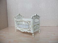 Dollhouse Miniature Furniture Hand Carved and Hand Painted Baby Crib Nursery