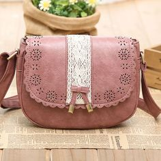 Sweet Lace Bow Messenger Bag Shoulder Bag.. love the pink and little  details! Lace aec1a173d7