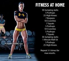 No gym required!  Try this out at home 3-5 times a week and you will see results.  Fantastic cardio burn!