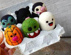 Spooky Creepy Cute Halloween Felted WOOLY Egg Toys