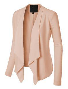 LE3NO Womens Open Front Draped Long Sleeve Blazer Jacket