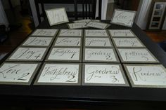 """For the reception...this bride asked for the tables to be named after the """"fruits of the holy spirit.""""  I had so much fun making these!"""
