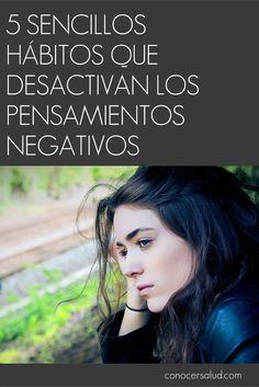"""""""Nosotros actuamos como pensamos y sentimos. Cuando eliminamos el pensamiento negativo, con el se van el drama y el dolor """". - Anónimo. Los pensamientos negativos no sirven absolutamente para ningún propósito. Cero. Ninguno. Nin-gu-no. El pensamiento negativo no tiene absolutamente nada que ver con usted como persona. Los pensamientos tóxicos no definen su carácter, y no pueden determinar su destino. Nosotros determinamos la potencia de cada pensamiento negativo. Por desgracia, a me..."""
