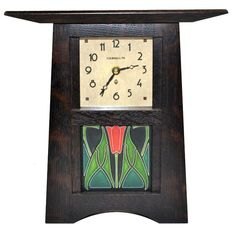 Oak Schlabaugh & Sons File Clock with Motawi Tile