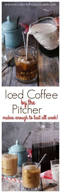 3 simple steps and you've got a pitcher of delicious iced coffee to last you the week! Say goodbye to expensive, over sweetened commercial iced coffee with this easy DIY recipe found on http://www.accidentalhappybaker.com @AHBamy