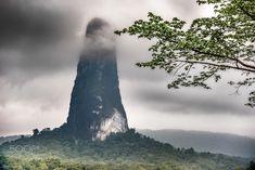 Pico Grande Phonolite, Sao Tome Principe - Pico Cao Grande on the island of Sao Tome is a volcanic plug composed of phonolite. There are several such peaks on Sao Tome e Principe - this one is 663 metres in altitude. Landscapes, Island, Mountains, Nature, Travel, Paisajes, Scenery, Naturaleza, Viajes