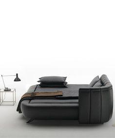 Double bed with adjustable headboard DS-1164 by de Sede | #Design Hugo de Ruiter #bedroom #interiors #minimal