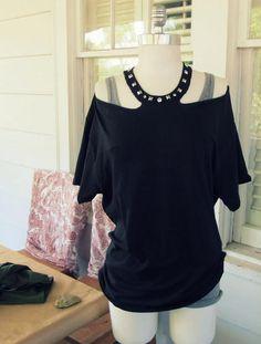 DIY Clothes Refashion: DIY No Sew Jewelled Halter: T-Shirt