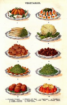 Vegetables -  from Mrs Beeton's Book of Household Management (1861).
