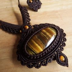 Macrame Necklace Pendant Cabochon Tiger Eye Stone Cotton Waxed Cord Handmade…