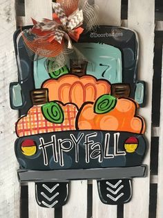 Vintage Truck Door Hanger - Three Pumpkin Door Hanger - Thanksgiving Door Decor - Autumn - Harvest - Fall Wreath - Personalized wood cut out Fall Wooden Door Hangers, Halloween Door Hangers, Halloween Wreaths, Fall Door Decorations, Fall Decor, Seasonal Decor, Painted Doors, Wooden Doors, Wood Cut