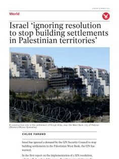 Israel 'ignoring resolution to stop building settlements in Palestinian territories' | The Independent