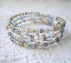 Blue Sea Glass Memory Wire Bracelet by JewelryByCarlotta on Etsy, $20.00