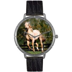 Whimsical Watches Quarter Horse Black Leather And Silvertone Photo Watch $45