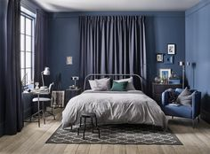 The mixture of colours within the inside of the bed room: IKEA ideas – Home Decoration Blue Bedroom Decor, Master Bedroom Interior, Bedroom Decor For Teen Girls, Ikea Bedroom, Home Bedroom, Bedroom Furniture, Home Furniture, Cama Ikea, Minimalist Room