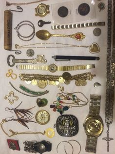 Junk Drawer Lot of 42 Big Sterling Coins Watches Jewelry Vintage More | eBay