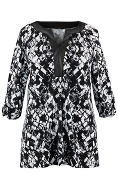 Pleather Trim Geo  Print Tunic