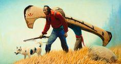 Gerald Curtis Delano (1890-1972)  The Portage,Menominee Indians  o/c, 22x40