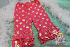Girls gold pink polkadot pants capris by AKidsDreamBoutique