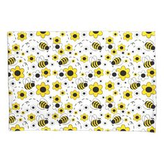 Bumble Bee Girl Yellow Floral Bedding Room Decor Pillowcase