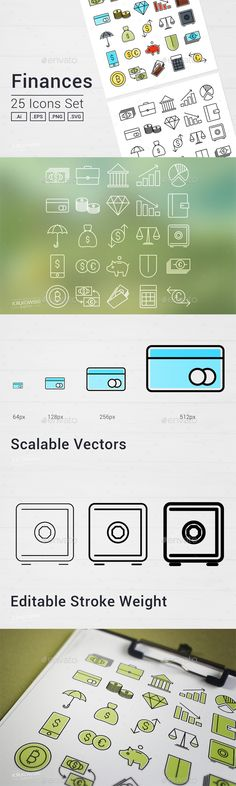 125+ Cute Internet Vector Icons Set Vector icons, Icons and Icon set - business finance spreadsheet template