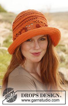 Spring summer hat cotton hat orange and red by LaBottegaDiChicco