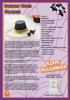 For those of you that are planning a Halloween themed party this weekend, these Squished Witch cupcakes are for you!