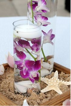 Lovely orchid/beachy centrepiece