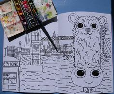 London Colouring in Book. Featuring the Dweeblings by Dweeblings on Etsy Colouring, Coloring Books, Easy Paintings, My Character, Art Pieces, Etsy, Prints, London, Drawings