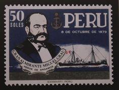 Estampilla conmemorativa del Gran Almirante Miguel Grau, héroe de Angamos