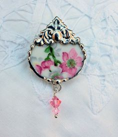 Broken China Jewelry Brooch Pin Pink Floral by Robinsnestcreation1, $35.00