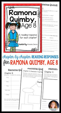 Students love Ramona Quimby novel studies! These activities take your readers through each chapter of Ramona Quimby Age 8! The reading responses are aligned to the Common Core, fun, rigorous, and easy to implement in your elementary classroom! Use them small group, whole group, with reader's notebooks, and in literature circles. Your reading plans are done!
