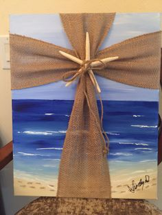 Burlap Cross on Beach Painting (pour paint / abstract instead of beach scene) Crosses Decor, Wall Crosses, Painted Crosses, Mosaic Crosses, Burlap Cross, Burlap Projects, Diy Projects, Cross Art, Cross Crafts